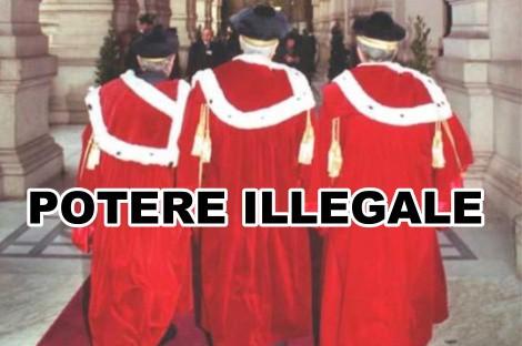 GIUSTIZIA - giudici con scritta alle spalle potere-illegale