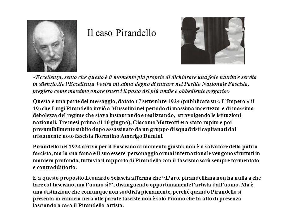 «Eccellenza, sento che questo è il momento più proprio di dichiarare una fede nutrita e servita in silenzio.Se l'Eccellenza Vostra mi stima degno di entrare nel Partito Nazionale Fascista, pregierò come massimo onore tenervi il posto del più umile e obbediente gregario» Questa è una parte del messaggio, datato 17 settembre 1924 (pubblicata su « L'Impero » il 19) che Luigi Pirandello inviò a Mussolini nel periodo di massima incertezza e di massima debolezza del regime che stava instaurando e realizzando, stravolgendo le istituzioni nazionali. Tre mesi prima (il 10 giugno), Giacomo Matteotti era stato rapito e poi presumibilmente subito dopo assassinato da un gruppo di squadristi capitanati dal tristamente noto fascista fiorentino Amerigo Dumini. Pirandello nel 1924 arriva per il Fascismo al momento giusto; non è il salvatore della patria fascista, ma la sua fama e il suo essere personaggio ormai internazionale vengono sfruttati in maniera profonda, tuttavia il rapporto di Pirandello con il fascismo sarà sempre tormentato e contraddittorio. E a questo proposito Leonardo Sciascia afferma che L'arte pirandelliana non ha nulla a che fare col fascismo, ma l'uomo sì! , distinguendo opportunamente l'artista dall'uomo. Ma è una distinzione che comunque non soddisfa pienamente, perché quando Pirandello si presenta in camicia nera alle parate fasciste non è solo l'uomo che fa atto di presenza lasciando a casa il Pirandello-artista.